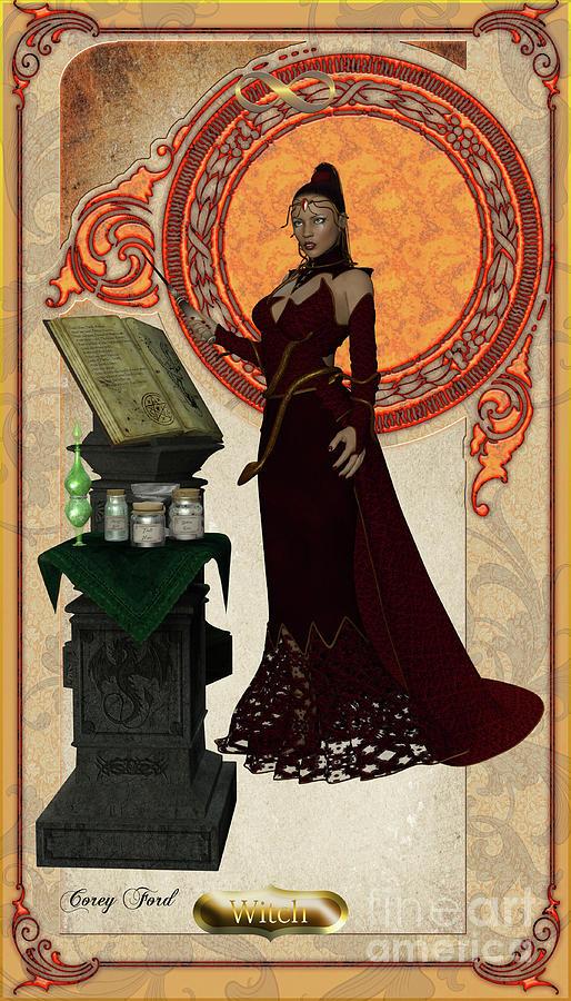 Witch Card Digital Art