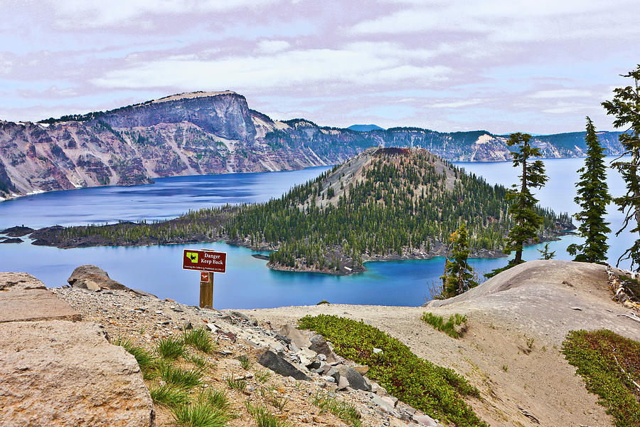 Wizard Island Crater Lake Oregon Two Photograph