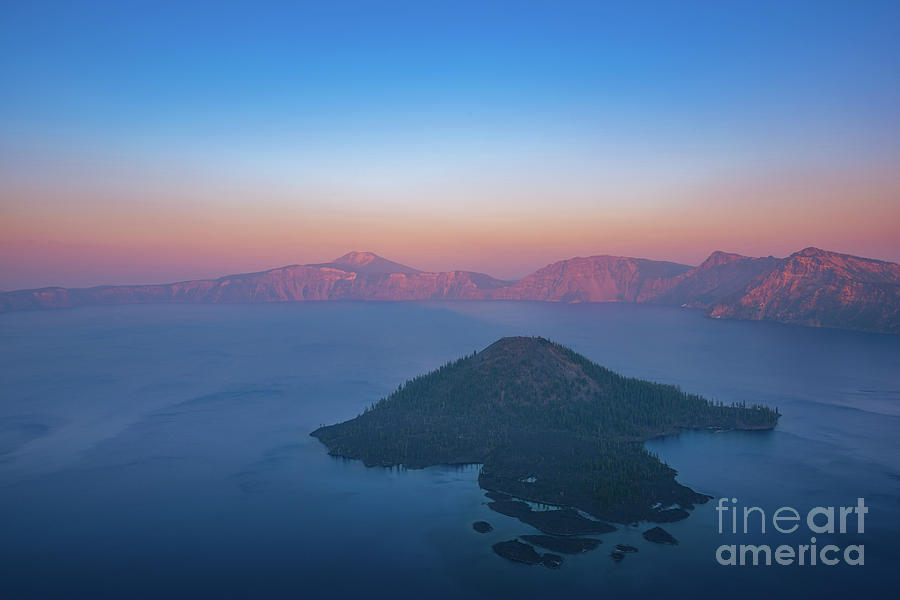 Crater Lake Photograph - Wizard Island Hazy Sunset  by Michael Ver Sprill