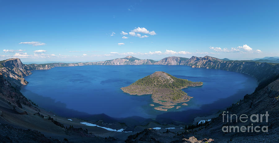 Wizard Island In Crater Lake Photograph
