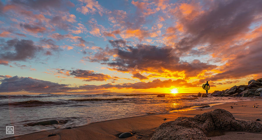Surfers Photograph - Woke Surfer Sunset  by Tim Hungerford