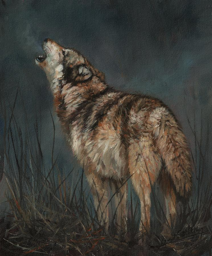 Wolf By Moonlight Painting