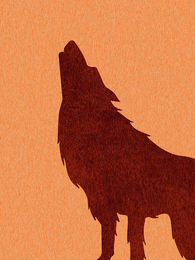 Wolf Silhouette - Scandinavian Nursery Decor - Animal Friends - For Kids Room - Minimal Mixed Media