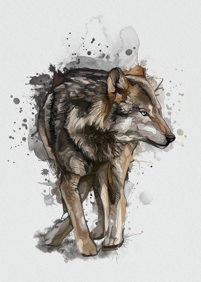 Wolf Vintage Digital Art