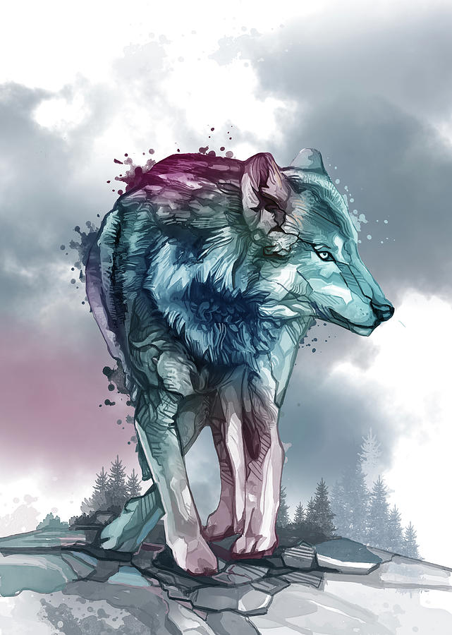 Wolf Watercolor Purple Digital Art