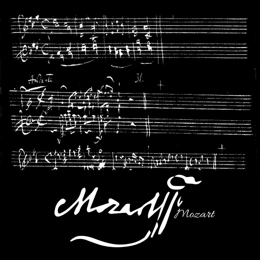 Wolfgang Amadeus Mozart Symphony Classical Music Hand Written Sheet Music Black Painting