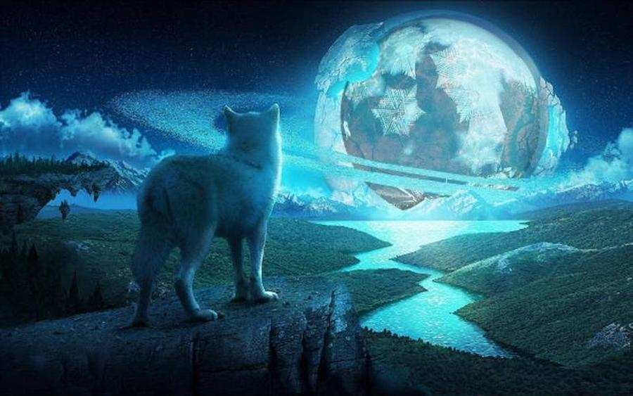 Wolfing At The Moon Mixed Media