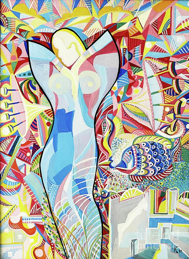 Spiritual Energy Painting - Woman And Fish, 19.5x27.5 by Zorina Kunkina