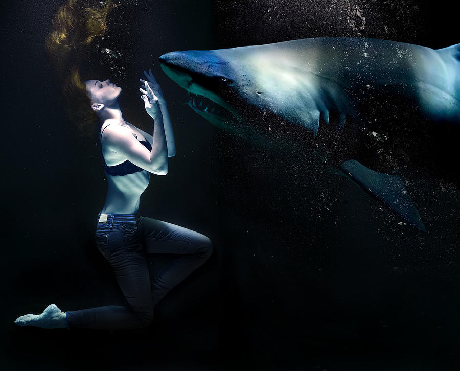 Woman And Shark Underwater Surreal Digital Art