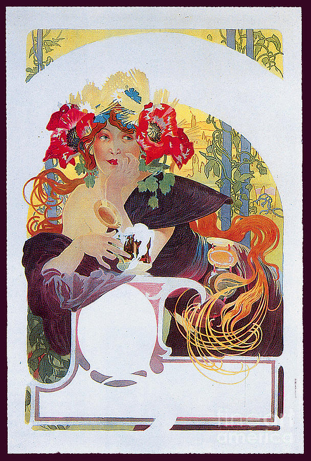 Woman Drinking Beer In The Style Of Alphonse Mucha Painting
