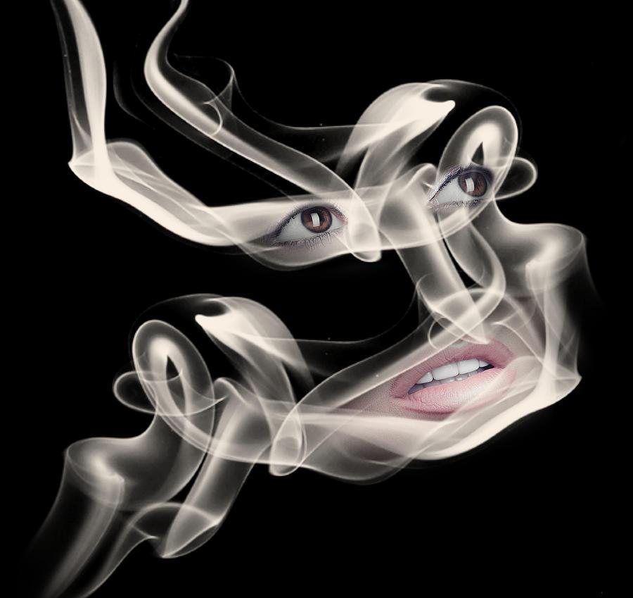 Woman Eyes And Lips And Smoke Surreal Digital Art
