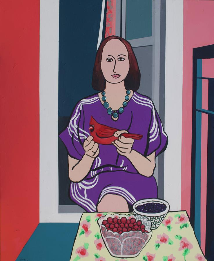 Bird Painting - Woman, Bird, and Berries - A Tribute to Henri Matisse by Rollin Kocsis