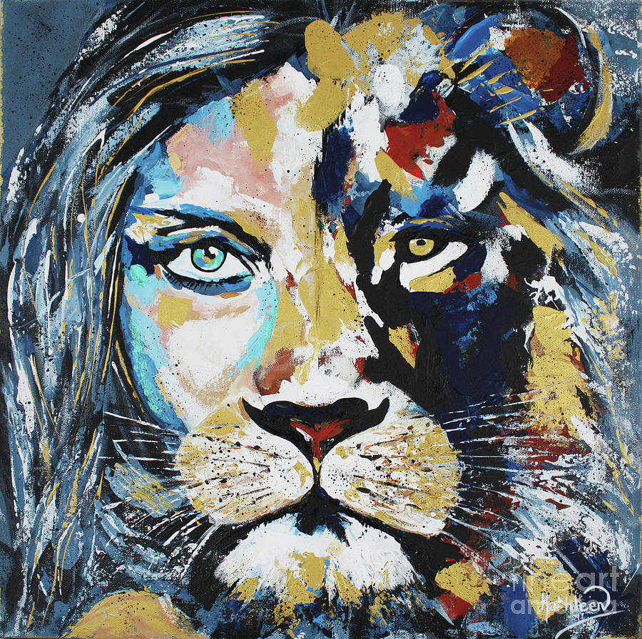 Woman Lion King, Face To Face Painting Painting