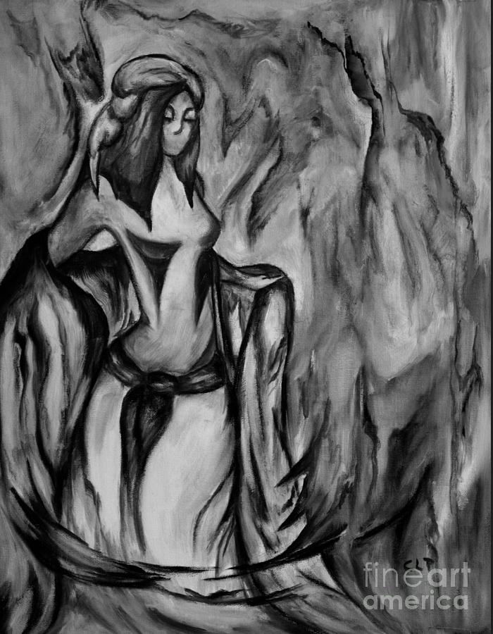Woman Of The Tribe Bnw Painting
