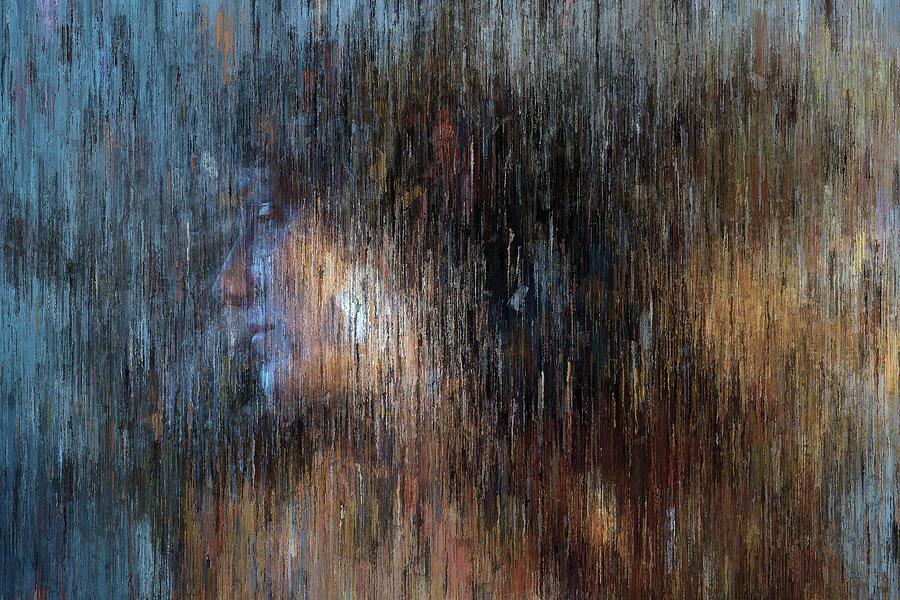 Woman Portrait in Blue Tones by Alex Mir