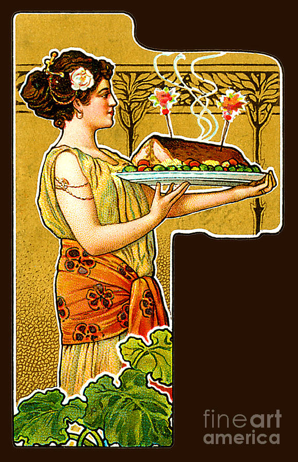 Woman Serving Food C 1900 Painting