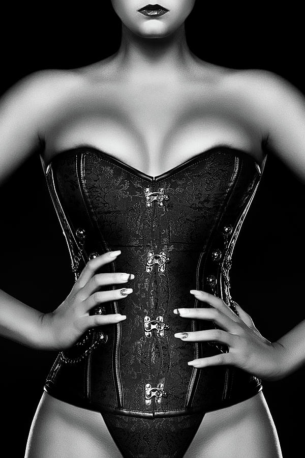 Woman Wearing Black Corset Photograph