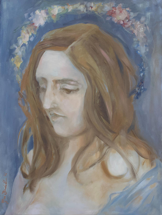 Women Painting - Woman with a Flower Halo by Noe Badillo
