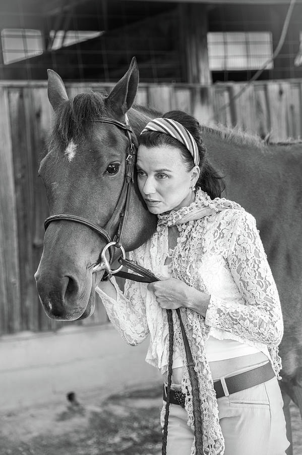 Woman With A Horse 1 Photograph
