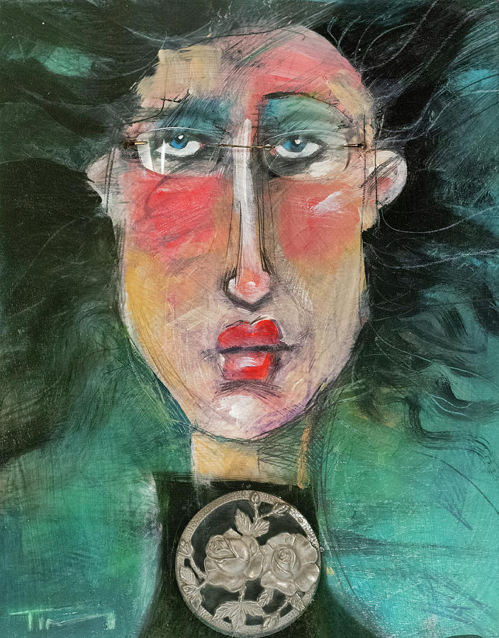 Woman with found object and glasses by Tim Nyberg