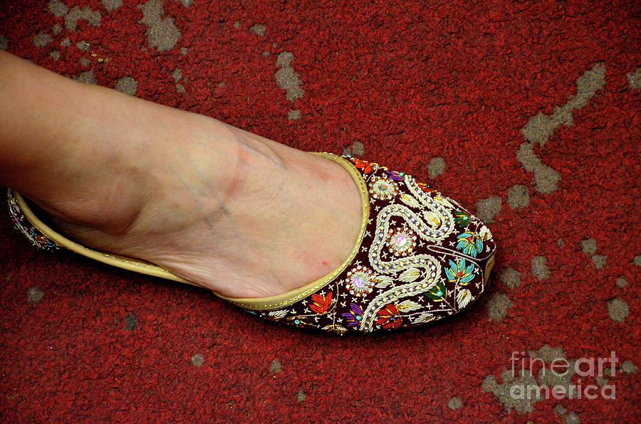 Womans Foot In Traditional Pakistani Leather Designed Hand Made Khusa Shoe Karachi Pakistan Photograph