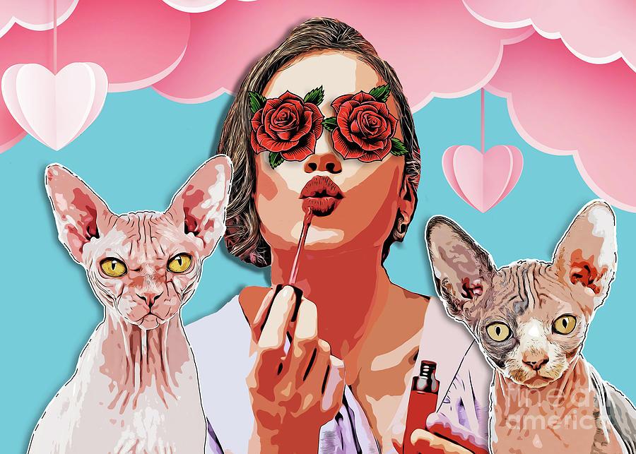 Women Cat Mother #women #catmother Digital Art