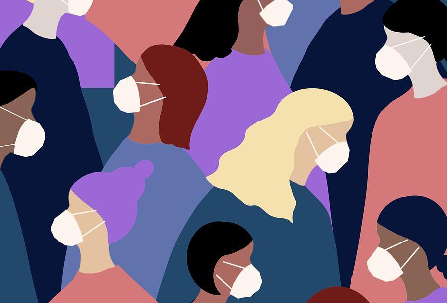 Women's wearing a medical face mask from winter viruses Drawing by Ada Yokota
