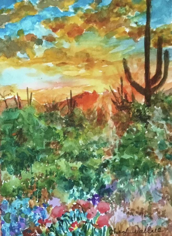 Dawn Painting - Wonder of Arizona Sunrise  by Cheryl Wallace