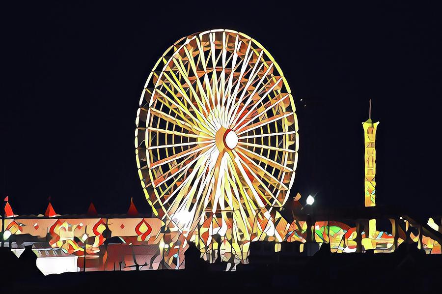 Wonderland Ferris Wheel At Night Digital Art