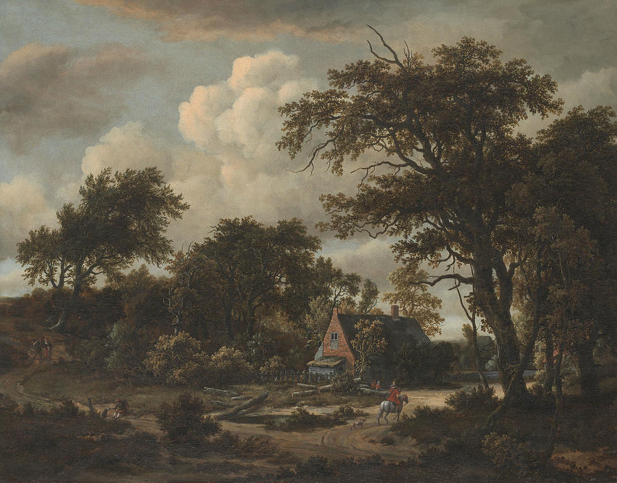 Wooded Landscape with Cottage and Horseman by Meindert Hobbema