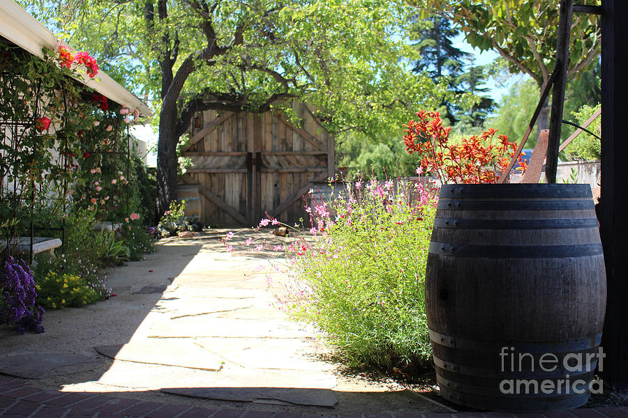 Wooden Barrel Photograph - Wooden Barrel In Garden Solvang CA by Colleen Cornelius
