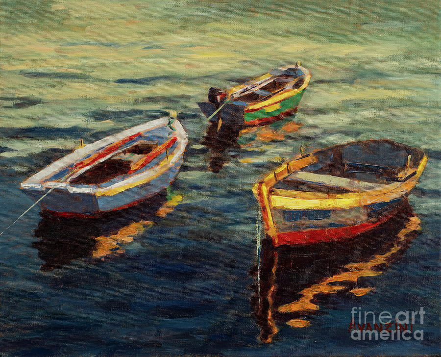 Galicia Painting - Wooden Boats at Mugardos Oil on Canvas Painting Galicia by Pablo Avanzini