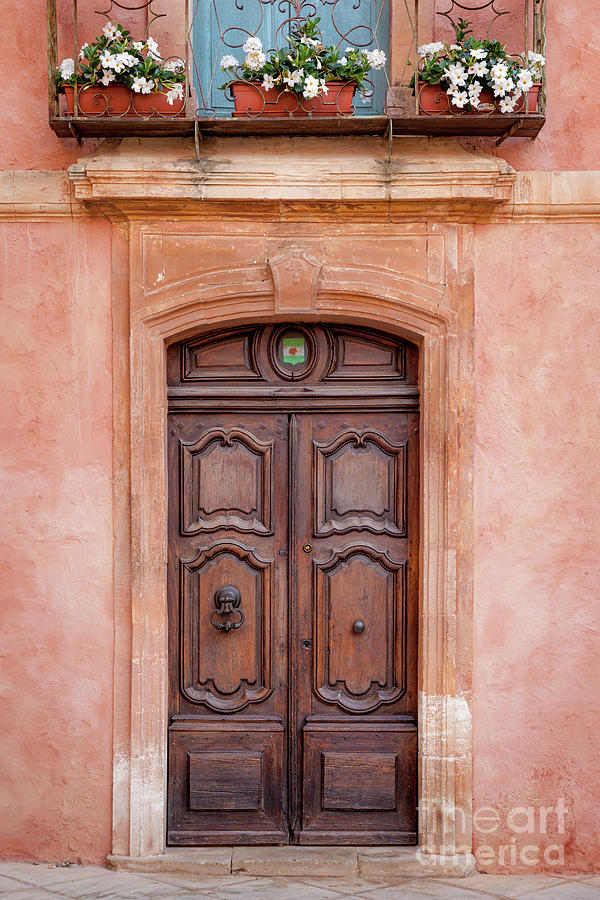 Wooden Front Door - Roussillon Provence France Photograph