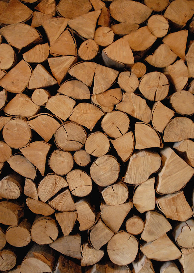 Wooden logs piled in a stack Photograph by Lyn Holly Coorg