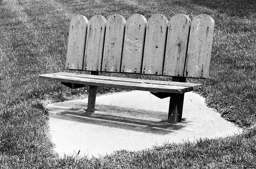 Wooden Park Bench Photograph