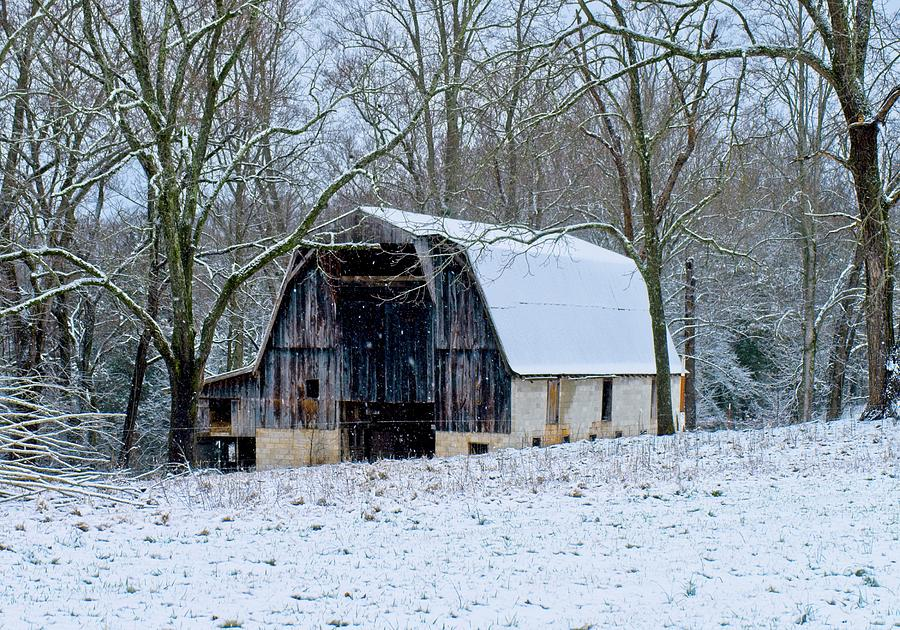Working Barn In The Snow Photograph