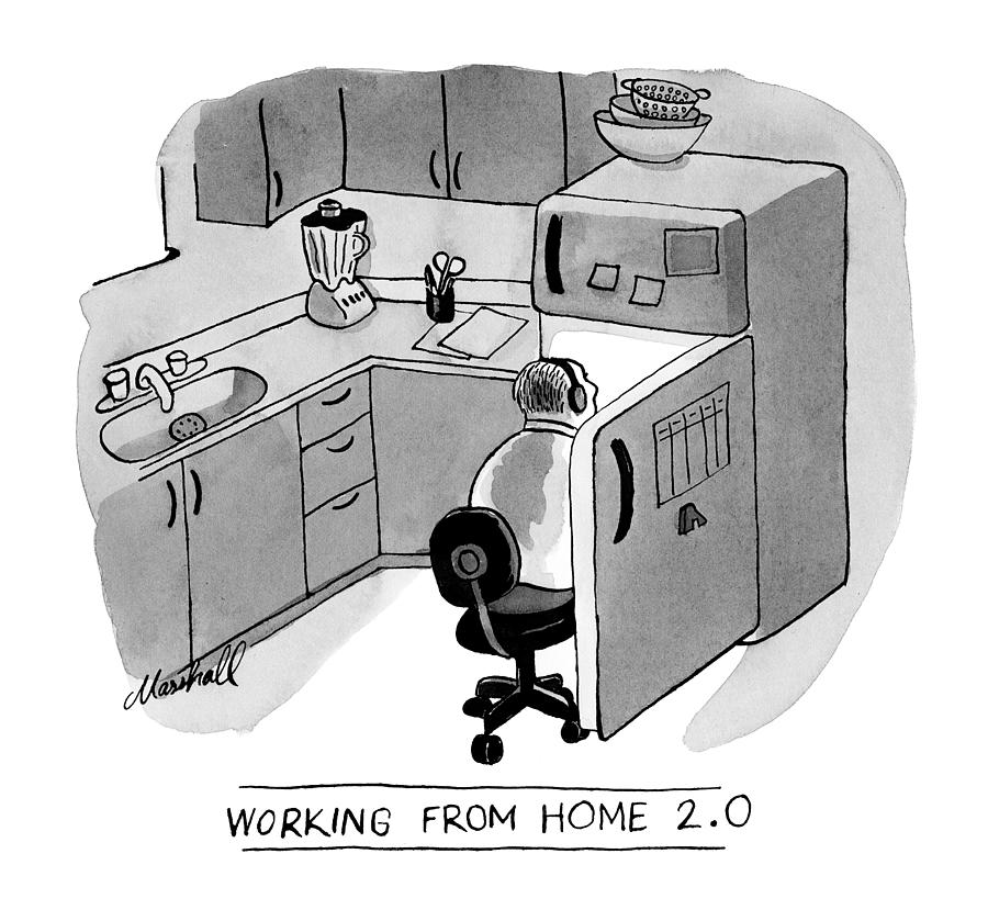 Working From Home Drawing by Marshall Hopkins
