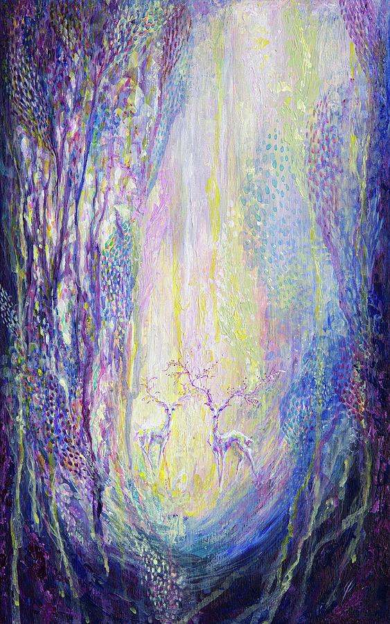 Violet Painting - World full of illusions by Varvara Medvedeva