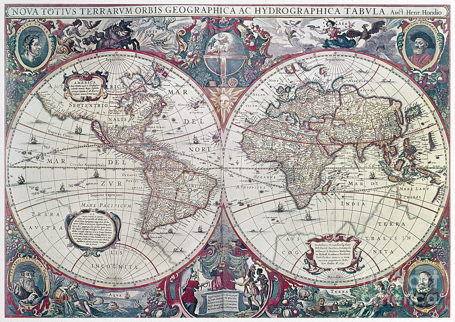 WORLD MAP, 1641 by Henricus Hondius