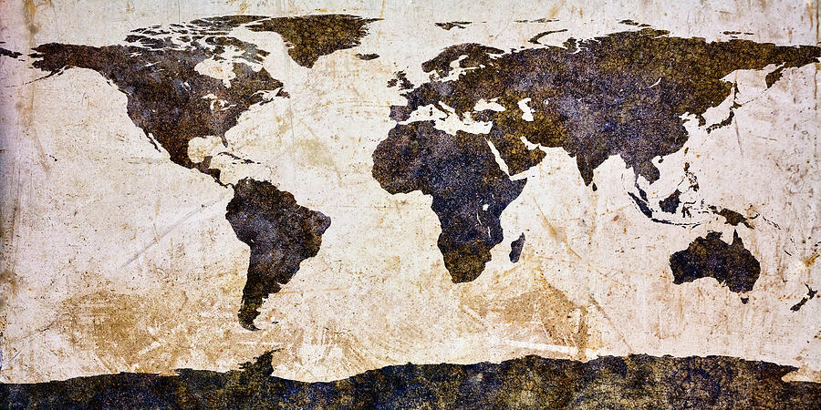 World Map Abstract Mixed Media