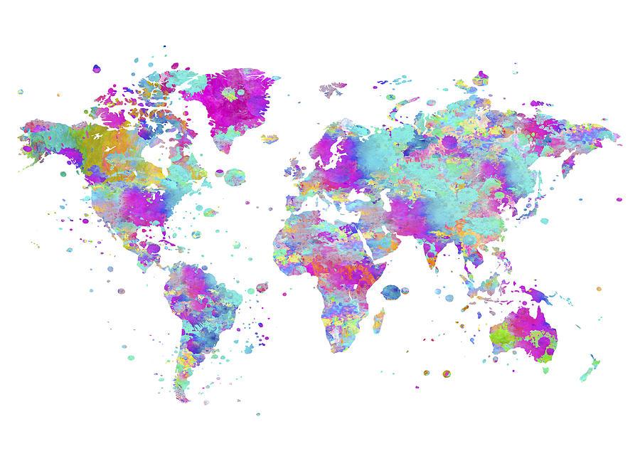 World Painting - World Map Art by Zuzi s