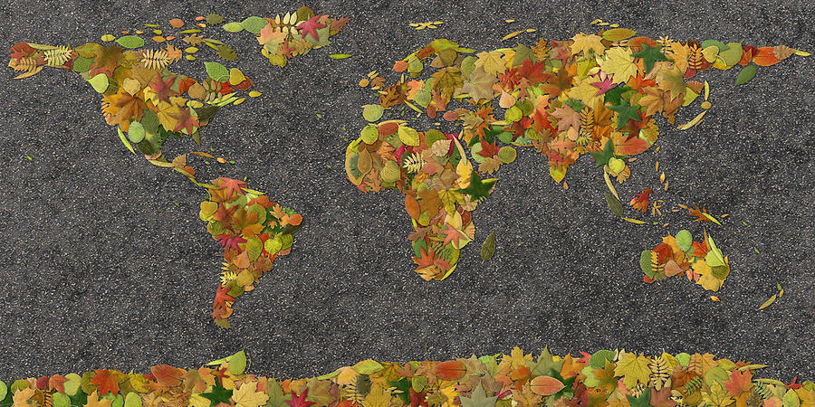 World Map Autumn Leaves by Frans Blok