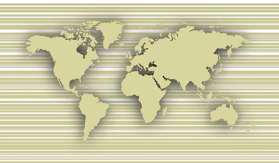World Map Over Lines Digital Art