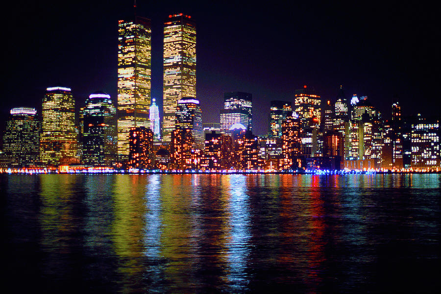 World Trade Center Twin Towers, Lower Manhattan New York City Nighttime Cityscape 1980s, No2 Photograph