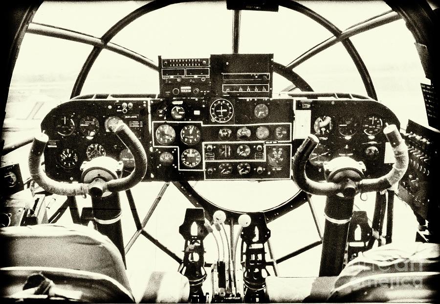 World War II Cockpit - Vintage Bomber Photograph