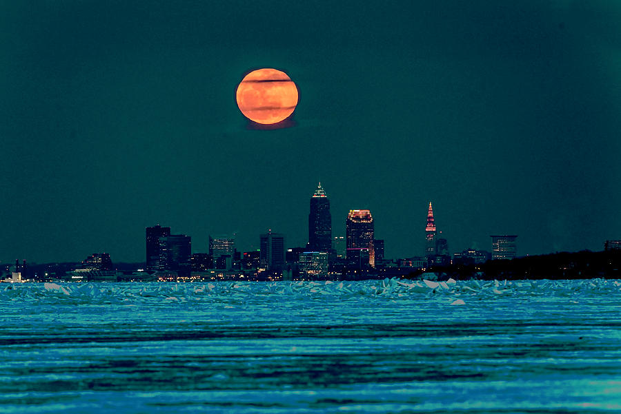 Cleveland Photograph - Worm Moon over Cleveland by James McClintock
