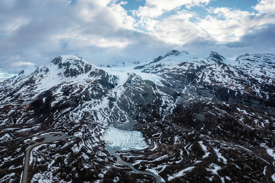 Worthington Glacier With A Frozen Lake - Aerial Panorama Photograph
