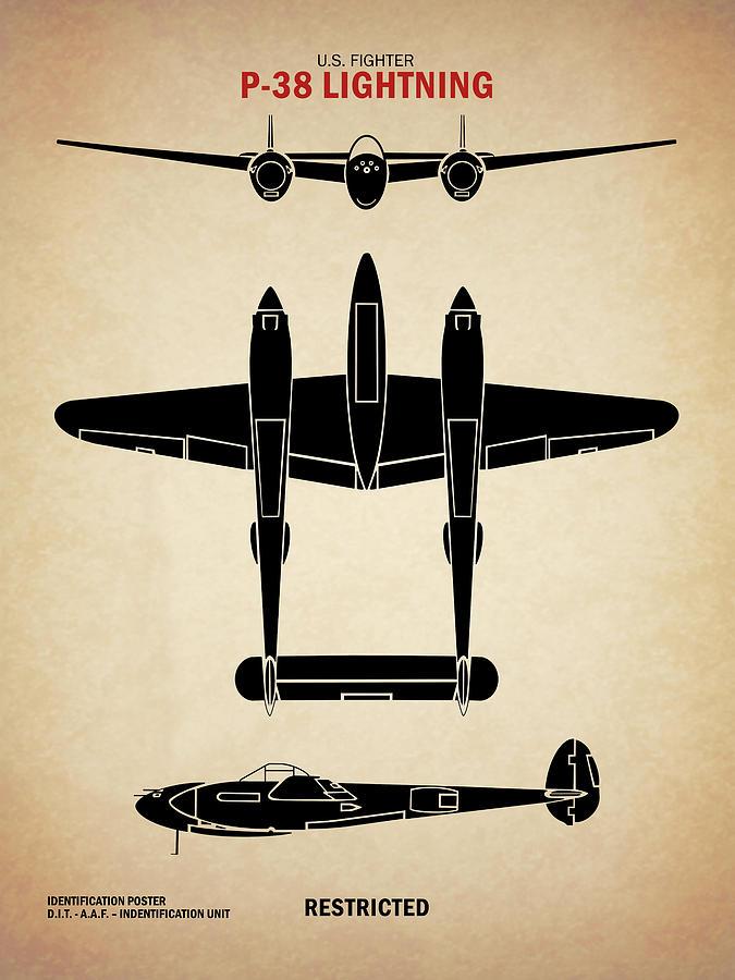 P-38 Lightning Vintage P38 Fighter Aircraft Ww2 Aviation