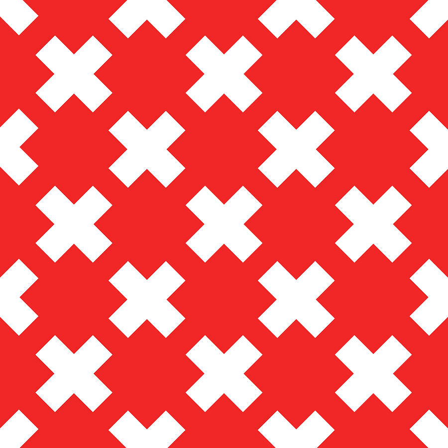X Cross Pattern 05 - Saint Andrews Cross - Saltire - Red And White Digital Art