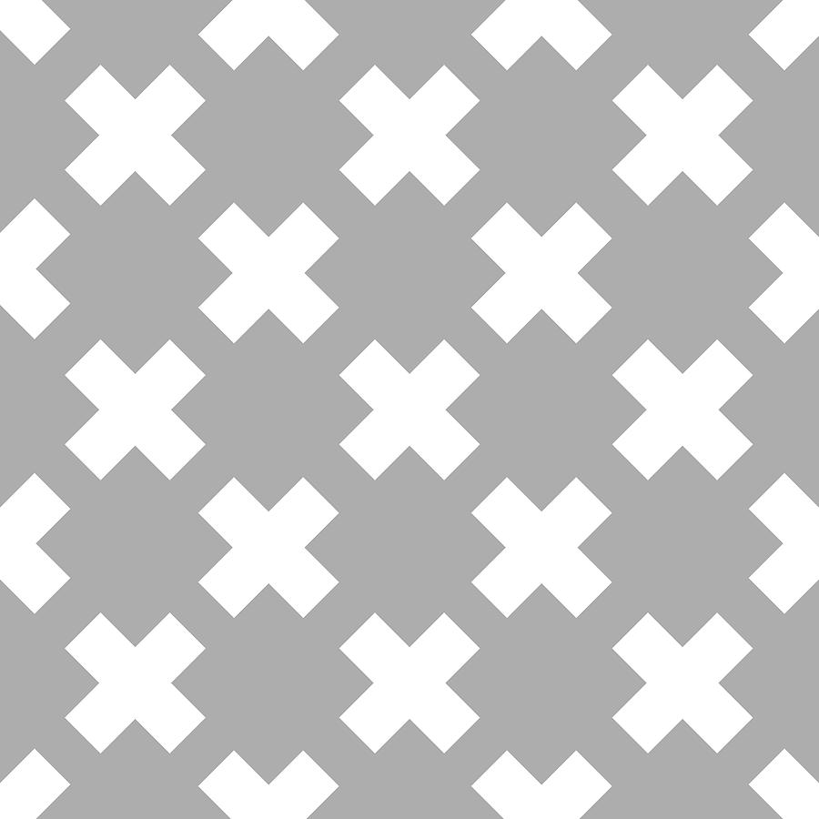 X Cross Pattern 06 - Saint Andrews Cross - Saltire - Gray And White Digital Art